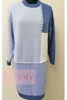 Платье женское 182-2337 Фемина (Светлый деним/голубой/белый/жемчужно-голубой)