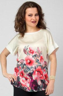 "Блуза ""СКС"" 2740 (Цветы/молочный купон)"